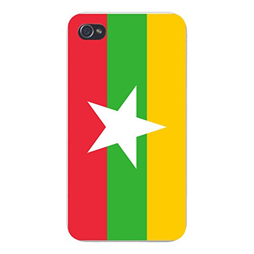 Apple iPhone Custom Case 5 / 5S White Plastic Snap On - World Country National Flags - Burma (Burma National Flag)