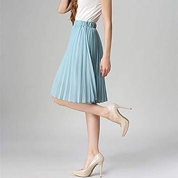 HEHEAB Falda,Luz Azul De Cintura Alta Falda Plisada Mujer Color ...