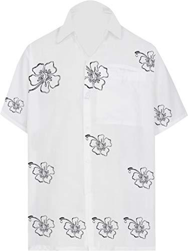 LA LEELA Shirt Casual Button Down Short Sleeve Beach Shirt Men Embroidered 183 Blue