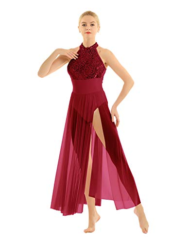 (inlzdz Women's Lyrical Dress Contemporary Ballet Dance Costume Leotard with Long Mesh Overlay Skirts Burgundy Small)