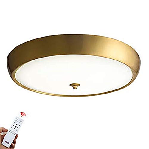 - NYW LED Ceiling Lamp Flush Mount Downlight Brass Metal Glass Lightdimmable with Remote Control 85-265V