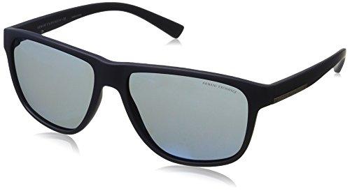 Armani Exchange Men's Injected Man Rectangular Sunglasses, Matte Blue, 58 - Sunglasses Men Armani