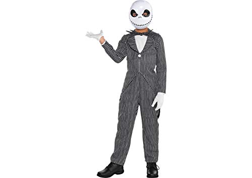 The Nightmare Before Christmas Jack Skellington Pinstripe Halloween Costume for Boys, Large,with Accessories