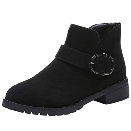 Women Fashion Non Slip Suede Ankle Boots Block Heels Side Zipper Casual Slip on Classic Short Booties by Lowprofile ()