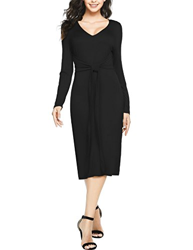 UNibelle Womens Deep V Neck Party Slit Sheath Evening Dress Black