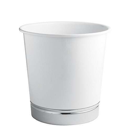 InterDesign York Waste Can, White/Chrome