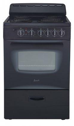 """Avanti ER24P1BG 24"""" Freestanding Electric Range with Deluxe See-Thru Glass Oven Door in Black"""