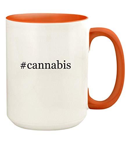 #cannabis - 15oz Hashtag Ceramic Colored Handle and Inside Coffee Mug Cup, Orange