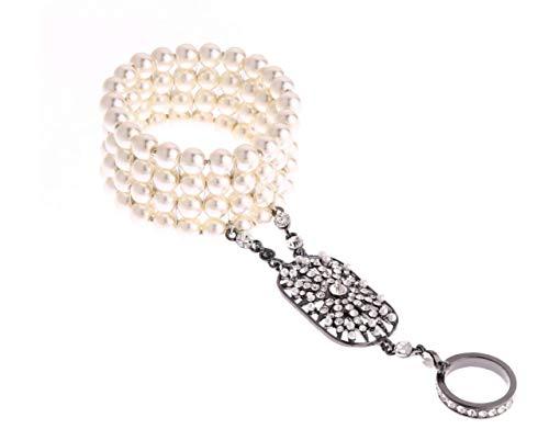 Honora Black Bracelet - Most Beloved The Great Gatsby Inspired Bridal Flower Pattern Imitation Pearl Bracelet Ring Set