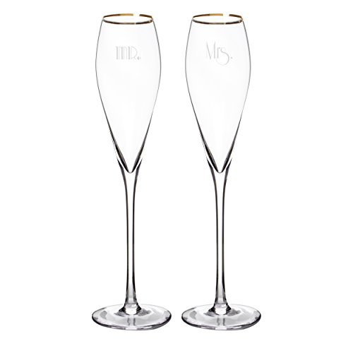 Cathy's Concepts Mr. & Mrs. Gatsby Champagne Flutes (Set of 2), Gold