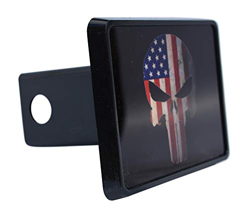 Rogue River Tactical USA American Flag Trailer Hitch Cover Plug US Patriotic Vintage Special Forces Skull ()