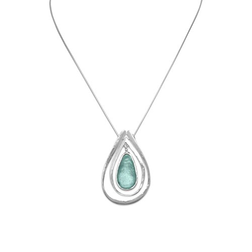 - Ancient Roman Glass Necklace with Teardrop Pendant Aqua Sea Blue Color Solid