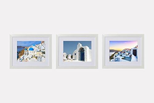 Southern Trunk Wall Art Framed Prints - Greece Santorini Photographs - White Wood Frame (Set of 3, (Wood Framed Print Set)