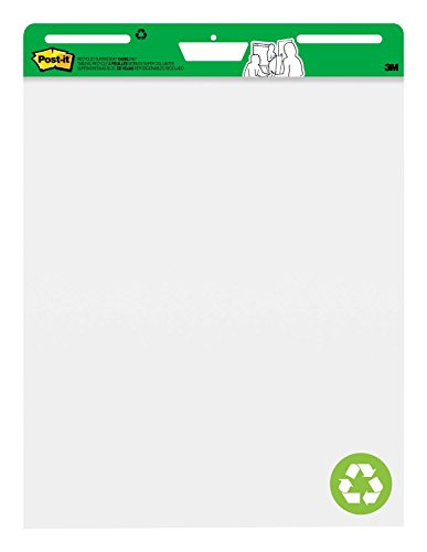 Recycled Self Stick Notes - Post-it Super Sticky Easel Pad, 25 x 30 Inches, 30 Sheets/Pad, 2 Pads (559RP), Large White Recycled Premium Self Stick Flip Chart Paper, Super Sticking Power