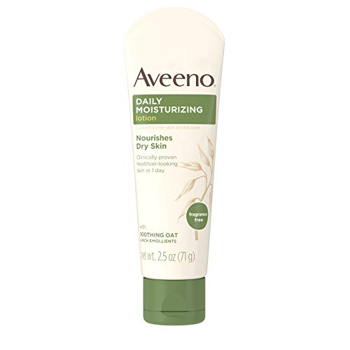 Aveeno Daily Moisturizing Body Lotion with Soothing Oat and Rich Emollients to Nourish Dry Skin, Fragrance-Free, 2.5 fl. oz (pack of 2)