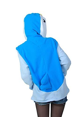 Elgante Mode Imprim Manches Loisir Outerwear Manteau Caline Animal Ferme Capuchon Fermeture Gaine Chic Automne Printemps clair A Capuche Longues Blau Femme Coat qtwfXzxZX