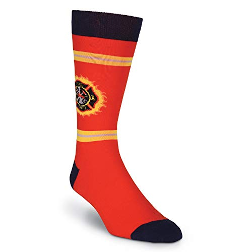 K. Bell Socks Men's Fun Occupational Novelty Crew Socks, Fire Fighter (Red), Shoe Size: 6-12 ()