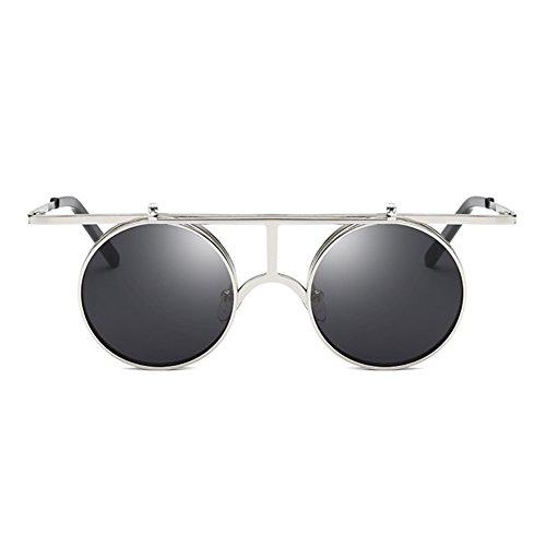 de hibote Hombres Up Polarized Steampunk Round Mujeres sol C6 polarizadas Lens gafas Flip Gothic Vintage BZ8tx0wqB