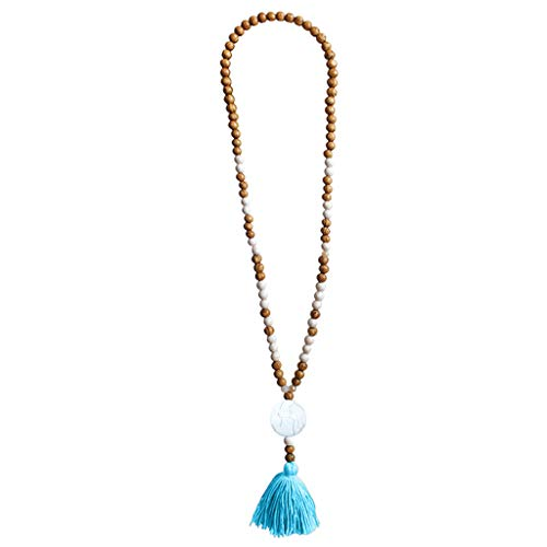 Crytech Crytech Bohemian Handmade Wooden Beaded Long Chain Necklace Ethnic Boho Beach Turquoise Beads Charms Tassel Pendant Necklace for Women Ladies Fashion Jewelry (Blue)