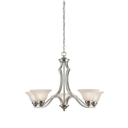 Satin Westinghouse Chandelier - Westinghouse 6228600 Fallon Five-Light Interior Chandelier, Satin Platinum Finish with White Alabaster Glass