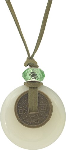 Unisex Quartz Donut 45mm Feng Shui Lucky Coin Pendant + Faux Leather Adjustable Cord +FREE GIFT BAG (45mm Donut Pendant)