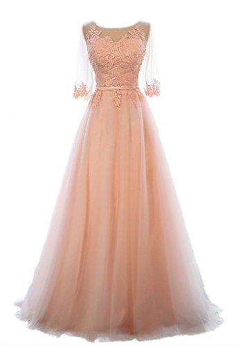 Eudolah Damen Abendkleider Braujungfernkleider Tolles Bunt Maxikleid Satin Chiffon Pink Gr.40