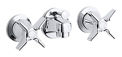 (Kohler K-8040-3N-CP Triton 0.5 gpm Shelf-Back Commercial Bathroom Sink Faucet with pop-up Drain and Cross Handles Polished Chrome)
