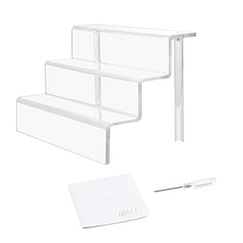 NIUBEE Acrylic Riser Stand Shelf for Amiibo Funko Pop Figure Display, 3 Steps Acrylic Display for Decoration and Organizer-Small, 3-Tier, Clear(9x6 inch)
