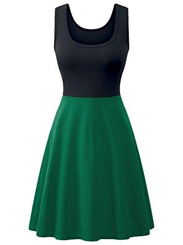 Amoretu Femmes Été Une Ligne Robe Évasée Mini-robes Patineuses Occasionnels Couleur Bloc Vert