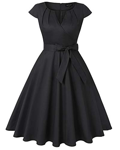 MINTLIMIT Women's Cocktail Dress Cap Sleeve Vintage 1950s Retro Rockabilly Prom Tea Dresses with Belt(Solid Black,Size L)