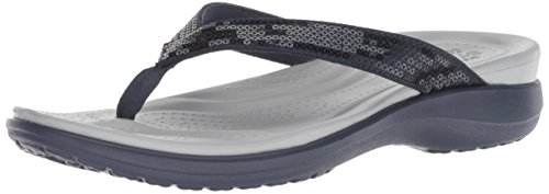 Crocs Women's Capri V Sequin W Flip-Flop, Navy/Light Grey, 6 M US