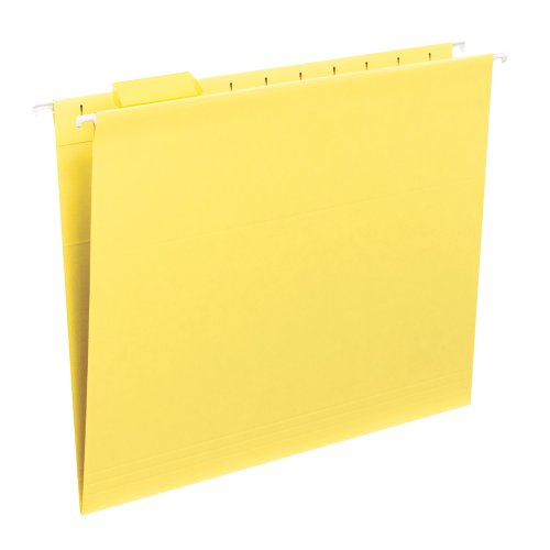 Smead Hanging File Folder with Tab, 1/5-Cut Adjustable Tab, Letter Size, Yellow, 25 per Box - Tab Box White