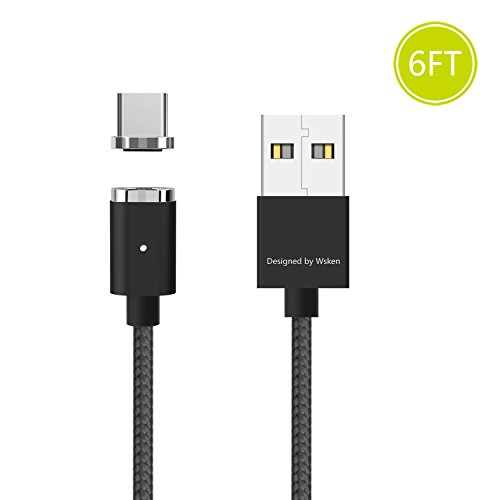 Wsken Magnetic USB Type C Cable - Android Charger Fast Charging 6ft Charge Cord for Galaxy S8, S8+, MacBook, Nintendo Switch, Sony XZ, LG V20 G5 G6, HTC 10,Google Pixel, Nexus 6P etc (Black)