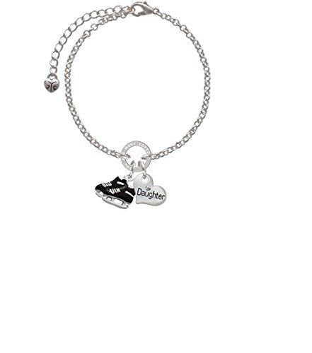 Silvertone Black Ice Skates Daughter You Are Loved Circle Bracelet 8
