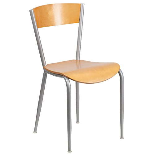 0.625' Natural (Flash Furniture Invincible Series Silver Metal Restaurant Chair - Natural Wood Back & Seat)