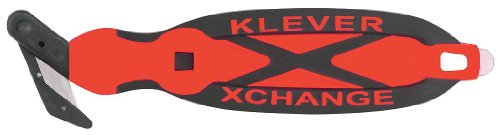 Klever XChange, Box Cutter, Safety Cutter, Utility Knife, Safety Knife, Replaceable Head Perfect For Cutting Double Wall Cardboard or Other Thick Material (Red)