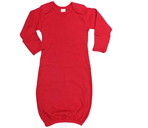 Red Sleeper - Laughing Giraffe Unisex Long Sleeve Baby Sleeper Gown with Mitten Cuffs (0-3M, Red)