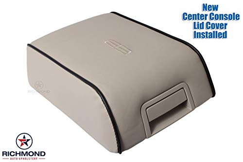 Richmond Auto Upholstery Replacement Leather Center Console Lid Cover Tan Light Parchment with Black Piping (Compatible with 2006 Lincoln Mark LT) (Light Parchment Tan)