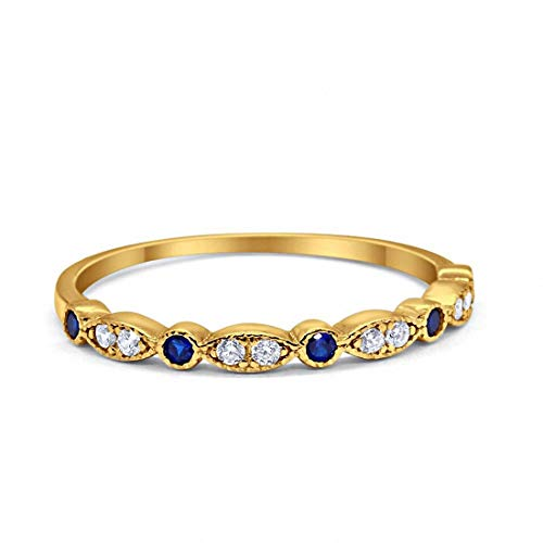 2mm Half Eternity Wedding Band Art Deco Design Round Simulated Blue Sapphire CZ Yellow Tone 925 Sterling Silver, Size-9 ()