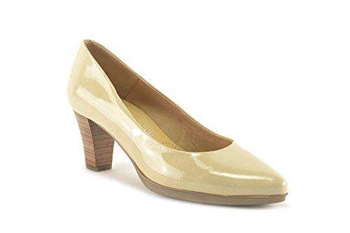 ConBuenPie by Desiree - modelo 11296 - Zapato de charol de piel con planta rellena de gel de Mujer. Color Beige y Rosa Beige