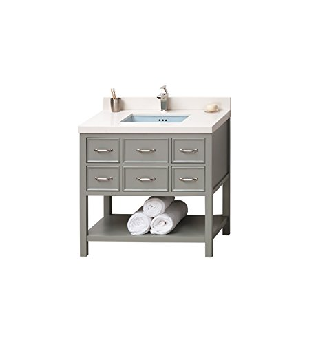RONBOW Newcastle 36 inch Bathroom Vanity Set in Ocean Gray, Bathroom Vanity with Top and Backsplash with Single Faucet Hole, Vanity Cabinet with Drawers and Sky Blue Vessel Sink 052736-F21_Kit_1 - Ronbow Open Grid