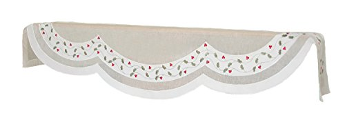 Xia Home Fashions Classic Holly Embroidered Cutwork Christmas Mantle Scarf
