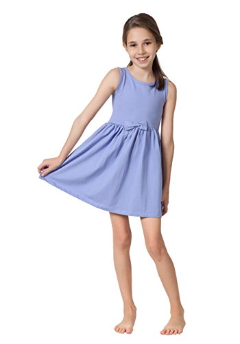 Caomp Girls Casual Sleeveless Swing Dress, Organic Cotton, Spandex, Scoop Neck, Tagless, Lavender, -