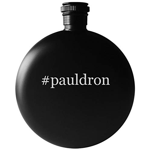 Leather Round Flask - #pauldron - 5oz Round Hashtag Drinking Alcohol Flask, Matte Black