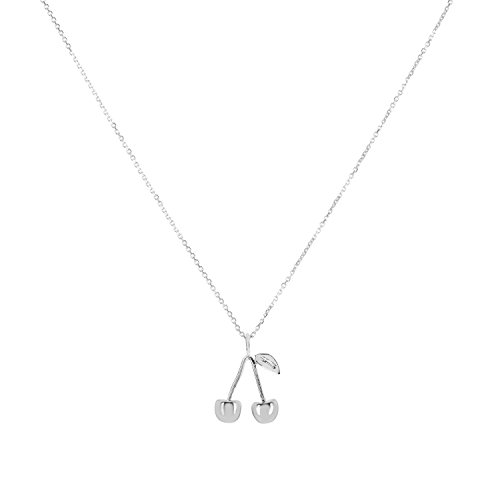 Fruit Charm Italian (Sterling Silver Cherry Pendant Necklace, 18