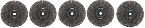 Weiler Trulock Narrow Face Wire Wheel Brush Round Hole Steel Crimped Wire 8 Diameter 0.014 Wire Diameter 3 4 Arbor 2 1 16 Bristle Length 3 4 Brush Face Width 6000 rpm