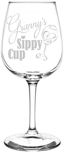 Personalized & Custom (Granny) Funny Sippy Cup Novelty Present & Gift Idea Inspired - Laser Engraved 12.75oz Libbey All-Purpose Wine Taster Glass
