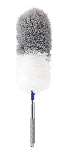 Microfiber Feather Duster with Telescoping Extension Pole/Hypoallergenic Dust Cleaner/Bendable Flexible Cleaning Head/Extendable Tool for Ceiling Fan,Gap Dust,Blinds and Cobweb-Wet or Dry ()