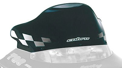 PowerMadd 11220 Cobra Windshield for Polaris Gen II - Black with white checkers - Low height