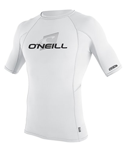 O'Neill Wetsuits UV Sun Protection Mens Skins Short Sleeve Crew Sun Shirt Rash Guard, White/White/White, - For Swimming Shirt Wetsuit
